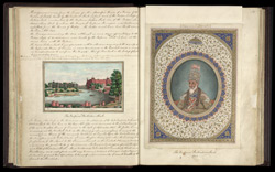 View of the Delhi palace from Metcalfe House (left), Portrait of the Emperor Bahadur Shah II (right)